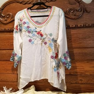 Sheer white embroidered 3/4 length sleeve top